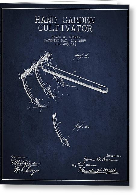 Farm Equipment Greeting Cards - Hand Garden Cultivator Patent from 1889 - Navy Blue Greeting Card by Aged Pixel