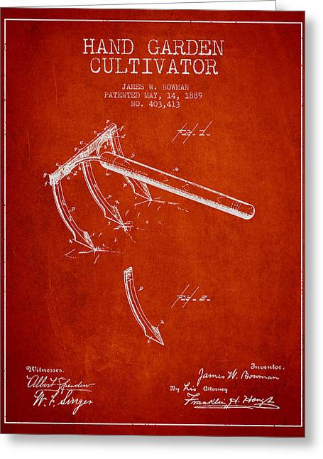 Farm Equipment Greeting Cards - Hand Garden Cultivator Patent from 1889 - Red Greeting Card by Aged Pixel