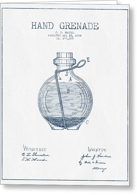 Hand Grenade Patent Drawing From 1884- Blue Ink Greeting Card by Aged Pixel
