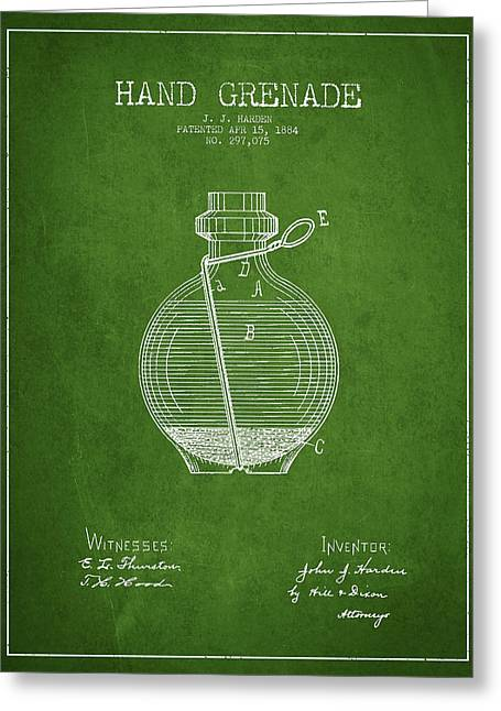 Hand Grenade Patent Drawing From 1884 - Green Greeting Card by Aged Pixel