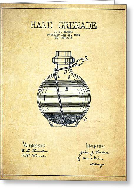 Hand Grenade Patent Drawing From 1884 - Vintage Greeting Card by Aged Pixel