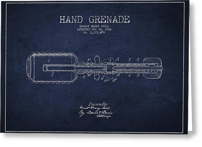Hand Grenade Patent Drawing from 1916 Greeting Card by Aged Pixel