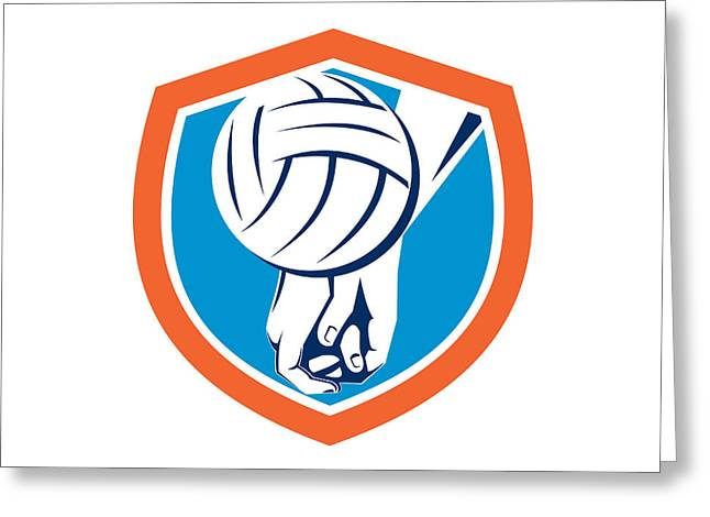 Hand Hitting Volleyball Ball Shield Retro Greeting Card by Aloysius Patrimonio
