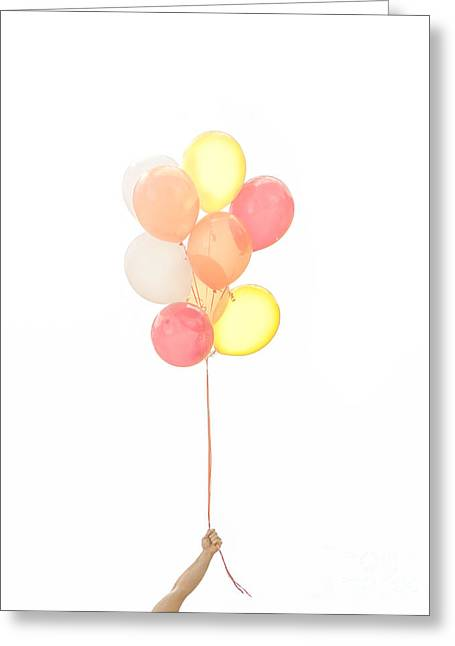 Helium Greeting Cards - Hand holding balloons Greeting Card by Diane Diederich