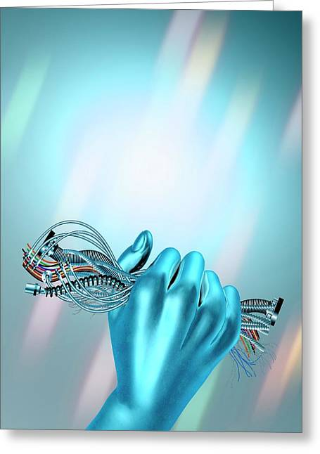 Hand Holding Cables Greeting Card by Victor Habbick Visions