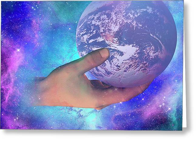 Hand Holding Earth Greeting Card by Carol & Mike Werner