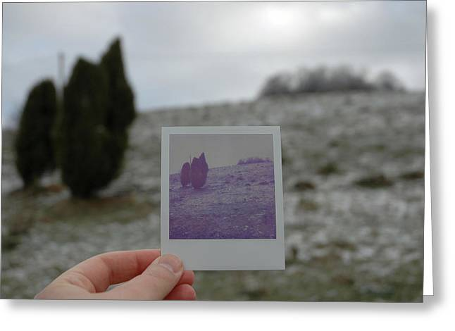 Hand Holding Polaroid - Concept Image For Memory Or Time Or Past Greeting Card by Matthias Hauser