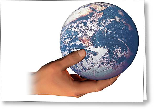 Hand Holding The Earth Greeting Card by Carol & Mike Werner