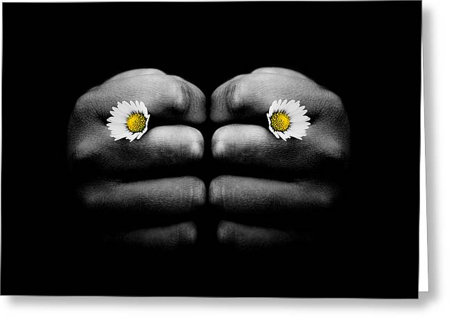Flower Express Greeting Cards - Hand Holding Two Small Daisy Flowers in Knuckles  Greeting Card by Miroslaw Oslizlo