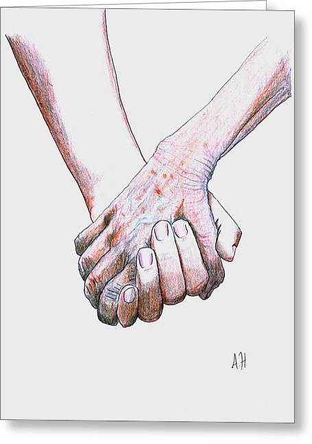 Senior Citizen Drawings Greeting Cards - Hand in Hand Greeting Card by Amani Al Hajeri