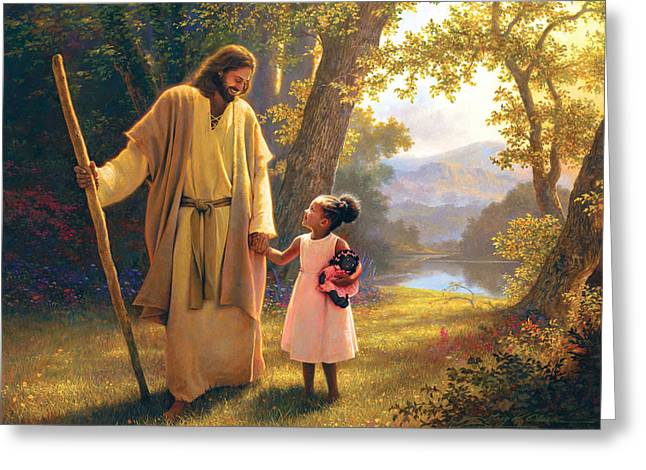 Jesus Christ Paintings Greeting Cards - Hand in Hand Greeting Card by Greg Olsen
