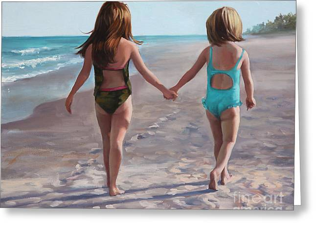 Tropical Beach Greeting Cards - Hand in Hand  Greeting Card by Laurie Hein