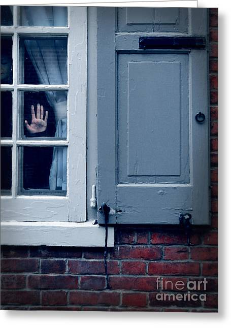 Left Alone Greeting Cards - Hand in Window of Old House Greeting Card by Jill Battaglia