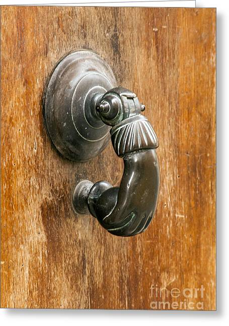 French Doors Greeting Cards - Hand Knocker Greeting Card by Bob Phillips