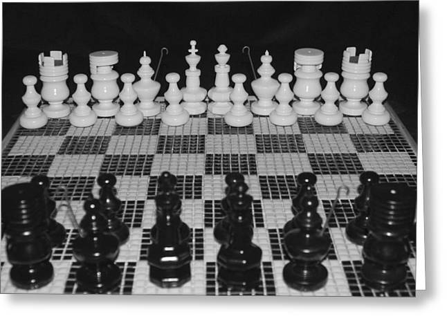 Hand Made Pyrography Greeting Cards - Hand Made Chess Set and Board Greeting Card by DUG Harpster