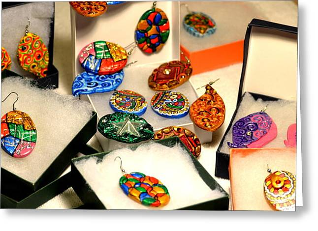 Acrylic Ceramics Greeting Cards - Hand-made Earrings Greeting Card by Deepti Mittal