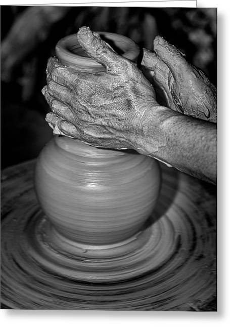 Master Potter Greeting Cards - Hand moulding a clay pot Greeting Card by Nelson Cortez