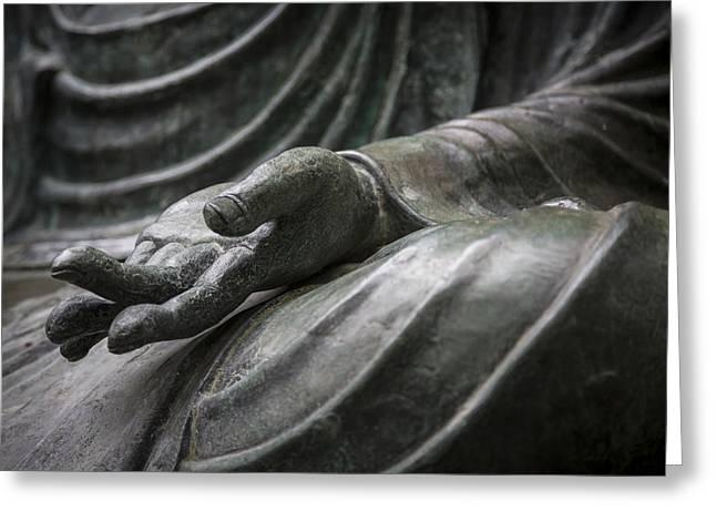 Hand Of Buddha - Japanese Tea Garden Greeting Card by Adam Romanowicz