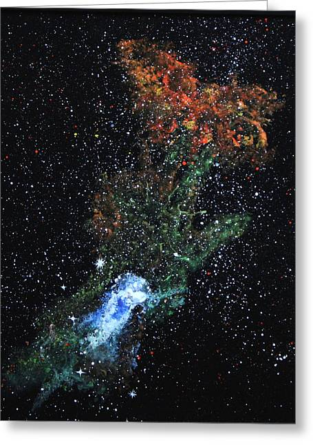 Recently Sold -  - Star Glass Art Greeting Cards - Hand Of God Pulsar Greeting Card by Wolfgang Finger