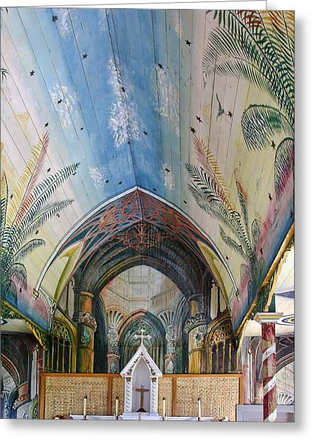Painted Wood Greeting Cards - Hand Painted Church Interior Greeting Card by Linda Phelps