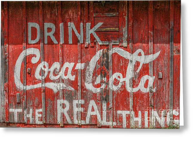 The Real Thing Greeting Cards - Hand Painted Coke Sign Greeting Card by Randy Steele