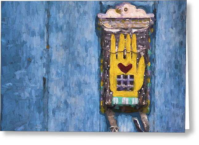 Western Mixed Media Greeting Cards - Hand-Painted Mailbox Painterly Effect Greeting Card by Carol Leigh