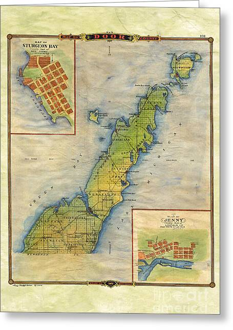 Map Of The Hand Greeting Cards - Hand painted Map of Door County  Greeting Card by Lisa Middleton