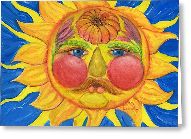 Sun Rays Paintings Greeting Cards - Hand Painted Sun as Vertumnus Greeting Card by Lenora  De Lude