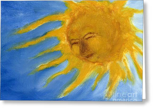 Erte Greeting Cards - Hand Painted Sun Face Old Sol Greeting Card by Lenora  De Lude