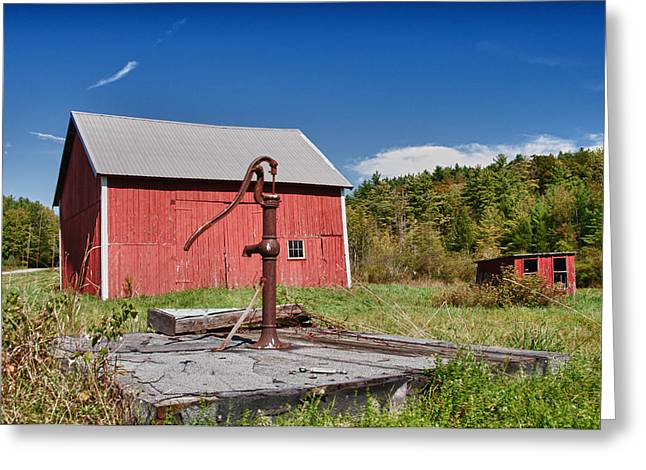 Farmlife Greeting Cards - Hand Pump Greeting Card by Guy Whiteley