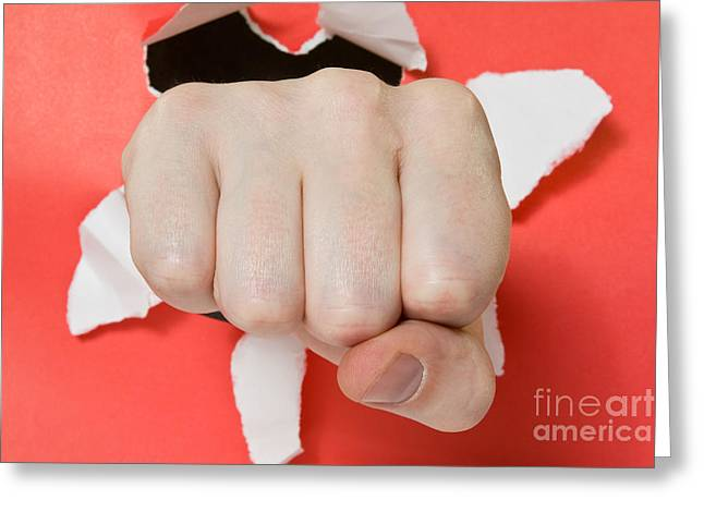 Emotional Gestures Greeting Cards - Hand punching through red paper  Greeting Card by G J