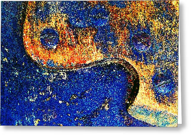Circular Saw Greeting Cards - Hand Saw Abstract Painted Greeting Card by Laurie Tsemak