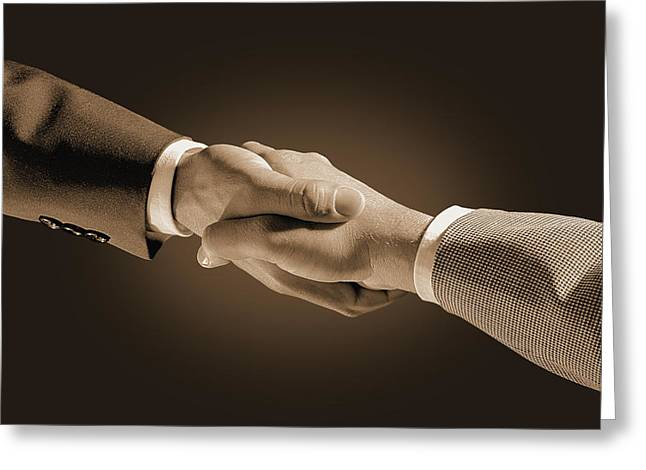 Hand Shake Greeting Card by Don Hammond