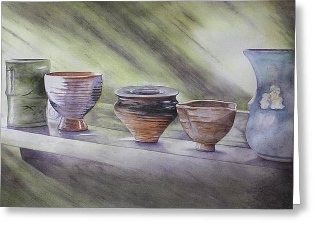 Sunlight On Pots Paintings Greeting Cards - Hand Thrown Greeting Card by Patsy Sharpe