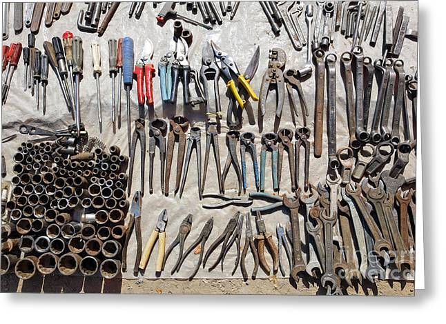 Hand Tools Greeting Cards - Hand tools for sale at the Ashgabat Sunday Market in Turkmenistan Greeting Card by Robert Preston