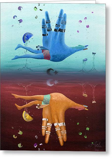 Inversion Greeting Cards - Hand Turkey Surreal Inverted Acrylic Painting Greeting Card by Anila Tac
