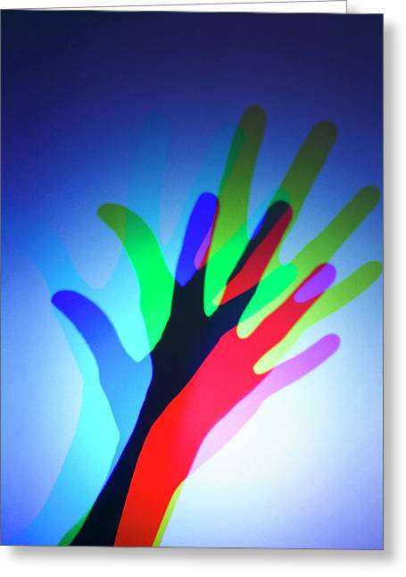 Hand With Colour Mixing Greeting Card by Science Photo Library