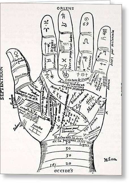 Fortune-telling Greeting Cards - Hand With Symbols, Septentrion, Oriens Greeting Card by French School