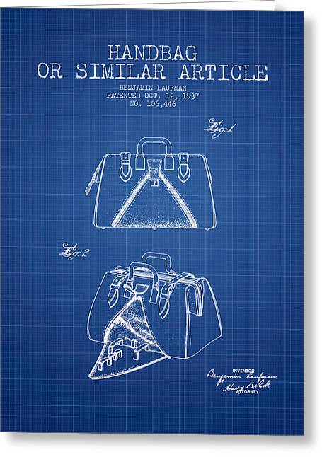 Purses Greeting Cards - Handbag or similar article patent from 1937 - Blueprint Greeting Card by Aged Pixel