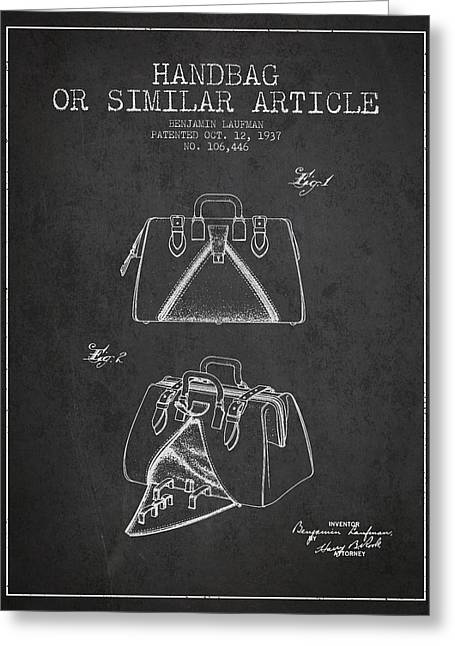 Purses Greeting Cards - Handbag or similar article patent from 1937 - Charcoal Greeting Card by Aged Pixel