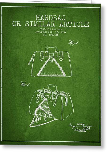Purses Greeting Cards - Handbag or similar article patent from 1937 - Green Greeting Card by Aged Pixel