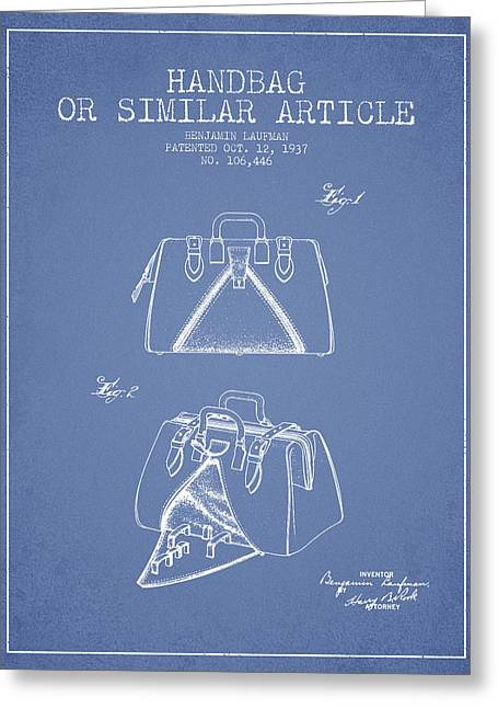 Purses Greeting Cards - Handbag or similar article patent from 1937 - Light Blue Greeting Card by Aged Pixel