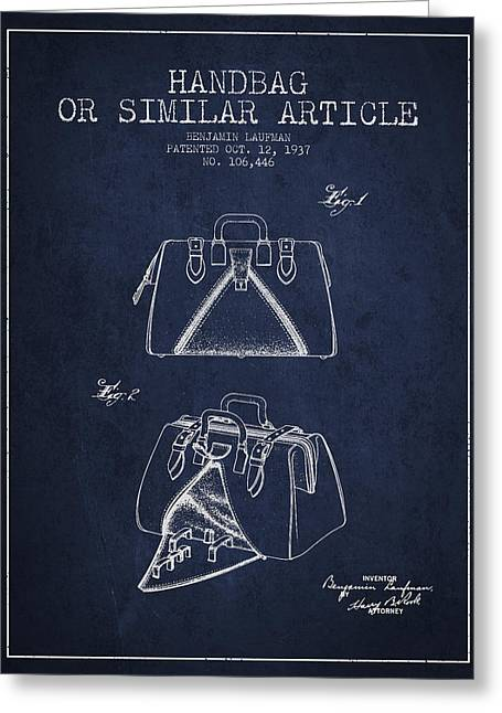 Purses Greeting Cards - Handbag or similar article patent from 1937 - Navy Blue Greeting Card by Aged Pixel