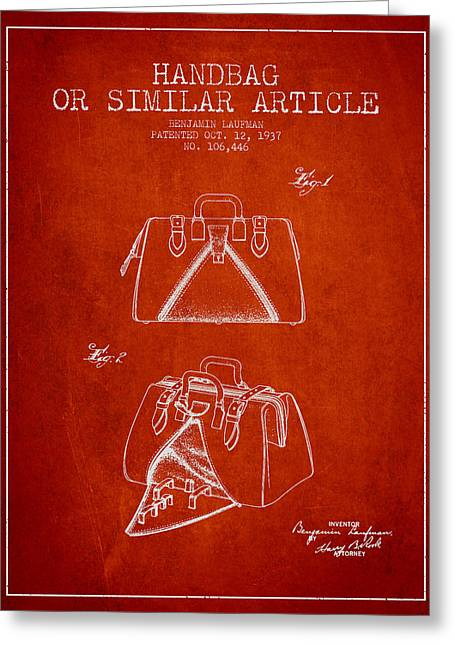 Purses Greeting Cards - Handbag or similar article patent from 1937 - Red Greeting Card by Aged Pixel