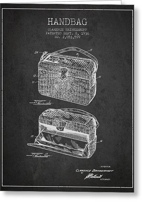 Purses Greeting Cards - Handbag patent from 1936 - Charcoal Greeting Card by Aged Pixel