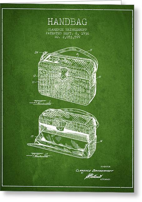 Purses Greeting Cards - Handbag patent from 1936 - Green Greeting Card by Aged Pixel