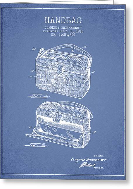 Purses Greeting Cards - Handbag patent from 1936 - Light Blue Greeting Card by Aged Pixel