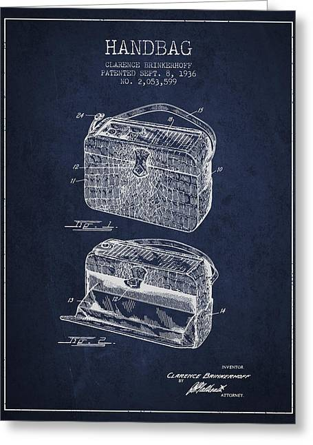 Purses Greeting Cards - Handbag patent from 1936 - Navy Blue Greeting Card by Aged Pixel