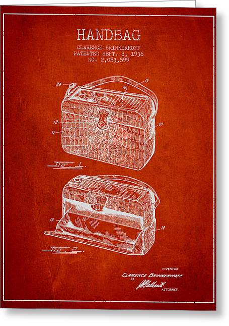 Purses Greeting Cards - Handbag patent from 1936 - Red Greeting Card by Aged Pixel
