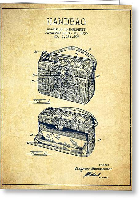 Purses Greeting Cards - Handbag patent from 1936 - Vintage Greeting Card by Aged Pixel